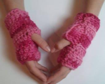 Pink Fingerless Gloves, Pink Wristwarmers, Pink Winter Gloves, Pink Wool Gloves, Pink Texting Gloves, Pink Sports Gloves, Pink ChristmasGift
