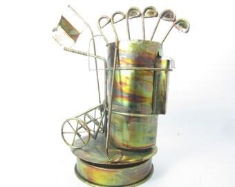 Metal sculpture, Copper Golf Bag, Golf Decor,, Metal Figurine, Golf Bag Music Box