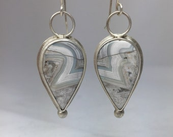 Crazy Lace Agate Teardrop and Sterling Silver Earrings