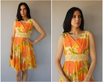Vintage 1960s Party Dress | 60s Dress | 1960s Floral Print Dress | 60s Party Dress | 1960s Cocktail Dress - (medium)