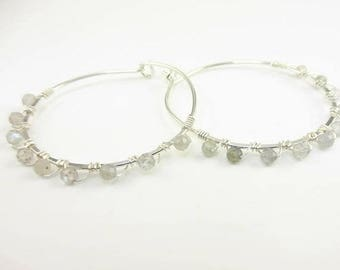 Handmade Sterling Silver Hoops with Labradorite - Prima Donna Beads