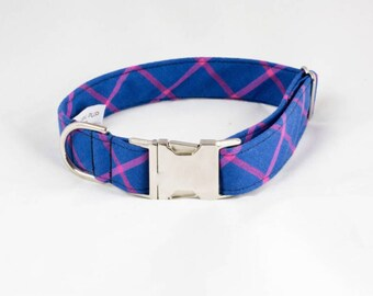 Limited Edition Preppy Blue and Magenta Plaid Dog Collar