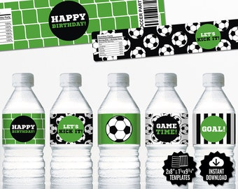 Soccer Water Bottle Labels. Sports Party Labels. Printable Birthday Bottle Wrappers, Wraps. Soccer Team Labels. Kids Decor. Digital Football