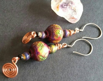 Floral Colour changing and copper Bohemian drop earrings