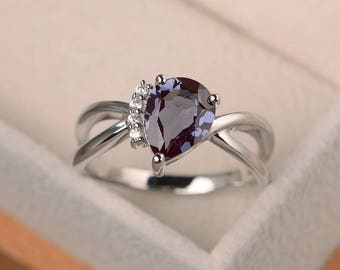 Alexandrite ring, engagement ring, pear cut ring, color changing gemstone, June birthstone, sterling silver ring