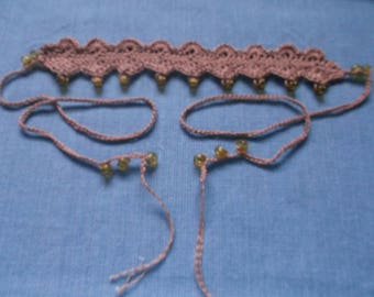 HANDMADE CROCHET CHOKER Jute-light gold beads