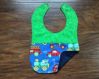 Reversible Bib, Transportation Bib, Triple Layer, Baby Bib, Baby Shower Gift, Drool Bib, Baby Boy Bib, Boutique Bib, Baby Branch Boutique