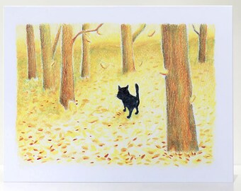 Autumn Gold Cat in Falling Leaves Greeting Card