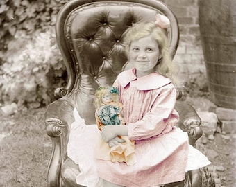 Little Blond Girl w Her doll Sits in Chair fine art photograph