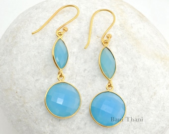 Blue Chalcedony Faceted Micron Gold Plated 925 Sterling Silver Earrings - #1515