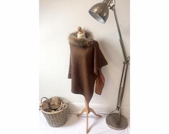 Brown herringbone tweed wrap/cape with fur
