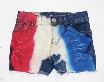 USA Red White Blue  Razzles denim shorties/red white blue distressed denim shorties, Patriotic shorts/4th of July outfit
