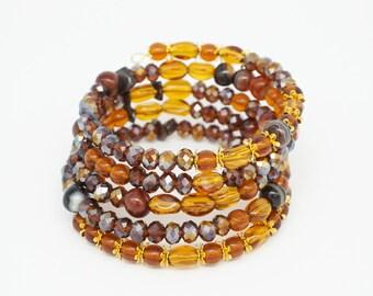 bracelet, beaded bracelet, memory wire, cuff bracelet, statement bracelet, boho bracelet, glass beads, Bohemia glass, bohemian bracelet