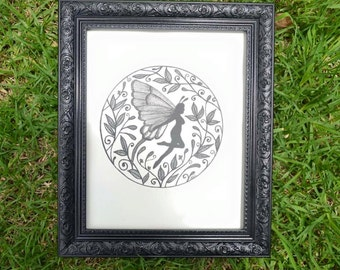 Butterfly Fairy - Faerie Wall Art Print of Original Ink Drawing - Limited Edition Signed Illustration