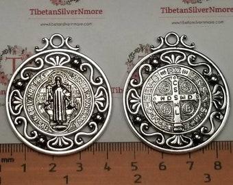2 pcs per pack 40mm Reversible San Benito filigree decorated edge Medallion Pendant Antique Silver Lead free Pewter