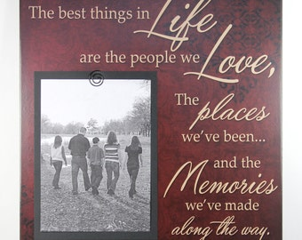 The best things in Life are the people we Love the places we've been Memories Handmade Primitive Red Sign Scrapbook Picture Frame Home Decor