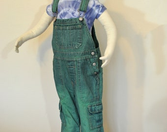 Green Kid 4T Bib OVERALL Pants - Kelly Green Dyed Cotton Toddler Old Navy Brand Denim Overalls - Kids Child Size 4 Years (24 waist)