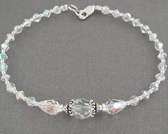 Swarovski Crystal Anklet - Aurora Borealis - Small to Large Sizes