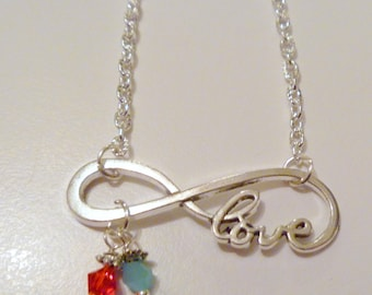 Infinity Love Necklace with Custom Crystal Birthstone Beads