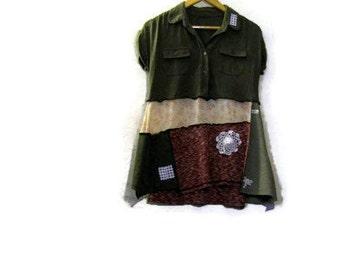 Upcycled Patchwork Tunic Top/ Funky Shabby Eco Mini Dress Shirt Mori XS/S