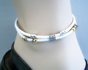 White Leather Ankle Bracelet for Women, Petite to Plus Size