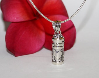 Perfume Bottle, Sterling Silver Perfume Bottle Necklace, Sterling Silver Perfume Container, Essential Oil Bottle, Oil Bottle