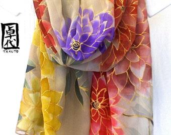 Hand Painted Silk Scarf Floral. Luxury Silk Scarf Japanese. Kimono Silk Scarf. Spring Peony Festival. Silk Chiffon. Made to order. 19x78 in.