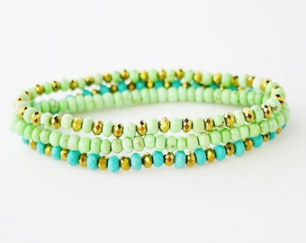 Turquoise Gold and Mint Stacking Bracelets / 3 PCS / Genuine Turquoise / Mint Magnesite / Gold Metallic Crystals / Robins Egg Blue / Pastel