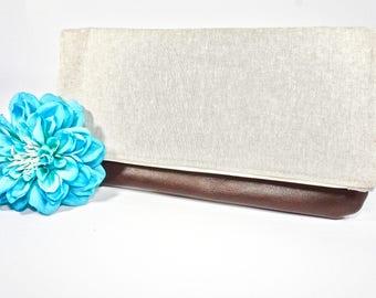 Sale - Fold Over Clutch | Beige Neutral Everyday Clutch | Wedding Clutch | Evening Clutch Purse | Leather Zipper Clutch | Bridesmaid Clutch