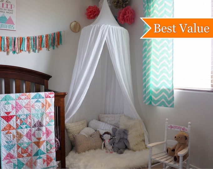Featured listing image: Play canopy in white cotton/ hanging tent/ reading nook canopy/hanging canopy