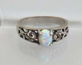 Vintage Manmade Opal Sterling Band Ring,  Size 9, Scrollwork Band