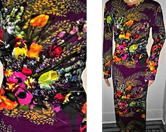 1990s Rare Jean Paul GAULTIER Vibrant Floral Dress Flowers - Designer XL