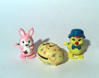 Vintage 1980s Set of 3 Easter Windup Toys, Adorable and Festive/Perfect for Easter Baskets