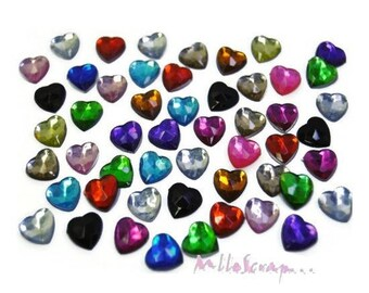 Set of 50 hearts rhinestone paste embellishment scrapbooking card making (ref.410) *.