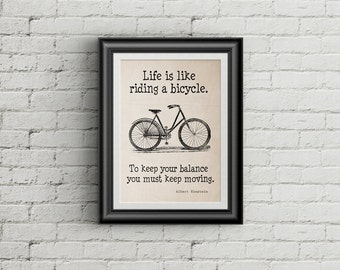 Life Is Like Riding A Bicycle PRINT Albert Einstein Quote Motivational Wall Art Vintage Bicycle Print Bicycle Art