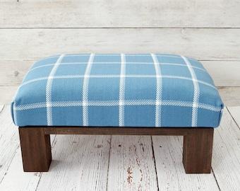 Footstool plaid - blue home decor furniture - blue pouf ottoman - fabric ottoman - farmhouse decor - country furniture - plaid foot stool