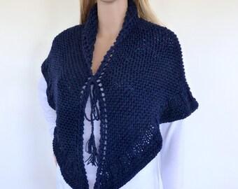 Navy Blue Knit shawl, Blue Shawl , Blue hand knitted wrap, Chunky Knit Cape , Chunky knit shawl wrap