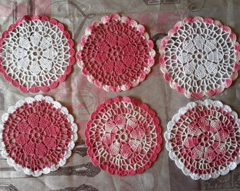 Set of 6 coasters, handmade crochet