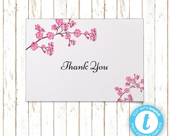 Cherry Blossoms Thank You Cards | Editable Printable PDF or JPEG | Instant Download | Templett | WSI128TY