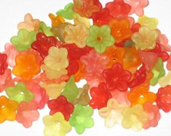 50 Acrylic Flower Beads Pretty Petals 12mm - 14mm Tutti Fruity Mix