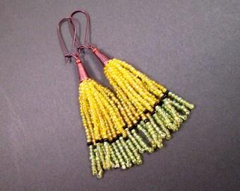 Tassel Earrings, Yellow Green and Black, Ombre Glass Seed Beaded Fringe Earrings, Copper Dangle Earrings, FREE Shipping U.S.