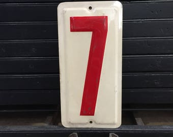 """Metal Gas Station Number 7  - Off-White and Red-  metal sign number- gas station price number 10.25"""" tall - embossed Industrial"""