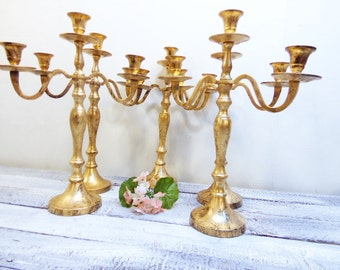 10  Wedding Candelabras 3 arm Shabby Candle Holder Antique Gold Distressed