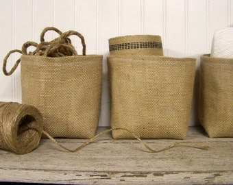 free shipping - burlap basket - natural - organize - storage basket - bin - fabric basket - large basket - fabric container - baskets