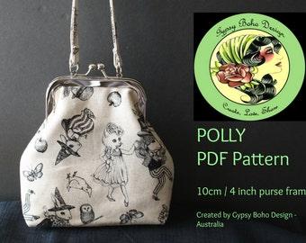POLLY _ PDF Pattern 4 inch / 10cm Purse Frame - Gypsy Boho Design