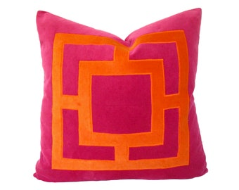 Pink and Orange Applique Pillow Cover