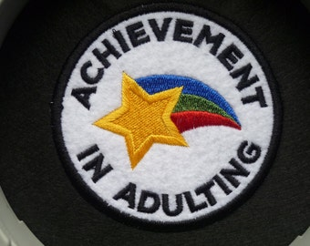 Adulting Patch Embroidered Sew on Patch Fabric Badge Patches Achievement in Adulting Felt Fabric Star Award Level up