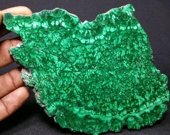 Polished malachite slab