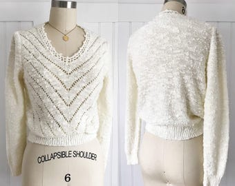 Vintage 70's Chevron Boucle Sweater top