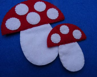 Hand Sewn Felt Fairy Garden Toadstools for Flannel Board Stories